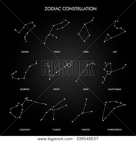 Set Of Zodiac Constellation On The Black Background. Space And Stars. Set Of Symbol Zodiac Sign, Con