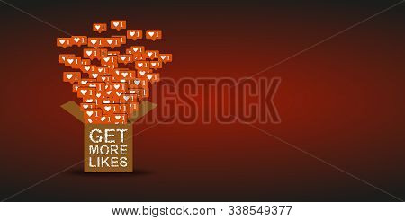 Social Network Icons Illustration Get More Likes. For Internet, Promotion, Marketing, Smm, Ceo With