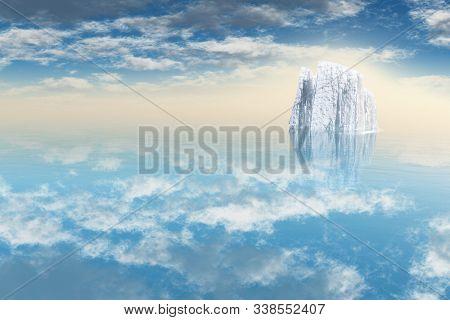 Beautiful White Iceberg in Still Sea. 3D rendering