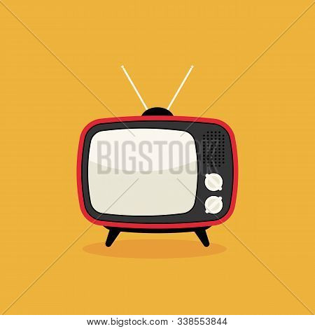 Retro Vintage Television Flat Design Isolated On Yellow Background, Vector Illustration
