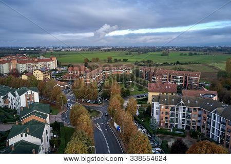 Aerial View Of Turin. Little District Of Turin Torino In Bright Autumn Day. Orange Trees, Buildings,