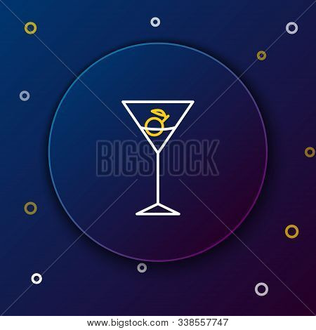 White And Yellow Line Martini Glass Icon Isolated On Dark Blue Background. Cocktail Icon. Wine Glass