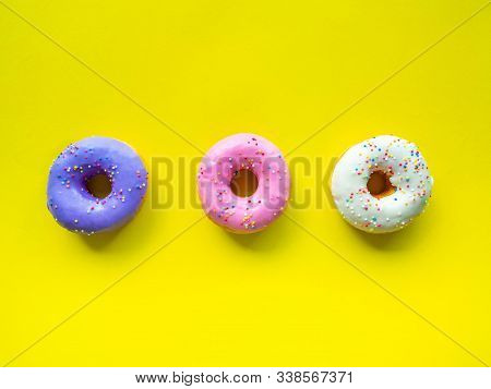 Donuts Various Flavor Have Color Orange White Purple Pink,high Energy Foods And Healthy Rates,sweet