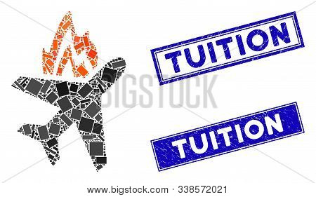 Mosaic Airplane Fire Icon And Rectangular Tuition Rubber Prints. Flat Vector Airplane Fire Mosaic Pi