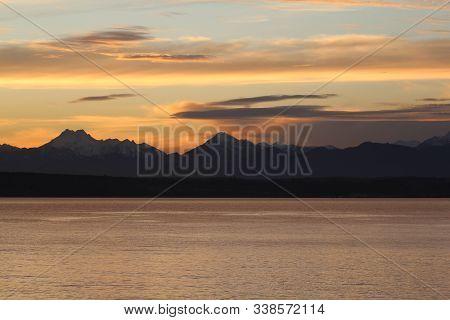 Puget Sound Sunset From Edmonds, Washington State