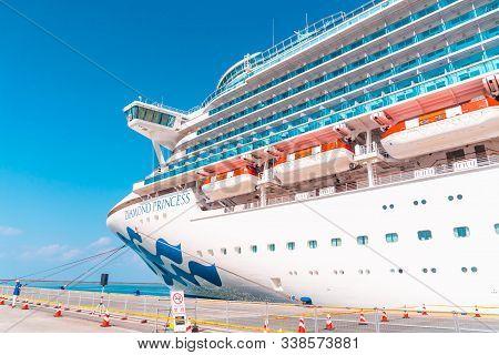 Tourist Are Boarding The Diamond Princess Cruise In Sakata Port; Japan.