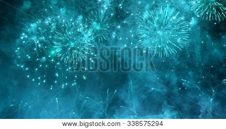 Firework Celebrate Anniversary Happy New Year 2020, 4Th Of July Holiday Festival. Colorful Firework