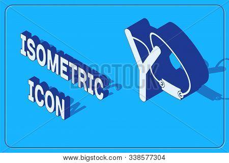 Isometric Slingshot Icon Isolated On Blue Background. Vector Illustration