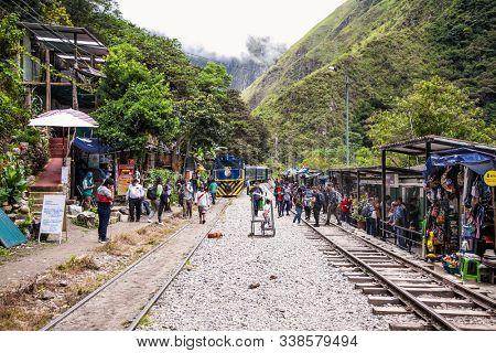 Machu Picchu Pueblo,  Peru - Jan 7, 2019:  Train connecting Cusco and Machu Picchu in Peru, South America.