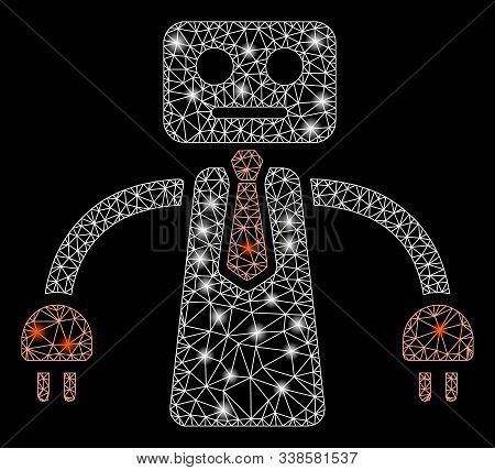 Glowing Mesh Boss Robot With Glow Effect. Abstract Illuminated Model Of Boss Robot Icon. Shiny Wire
