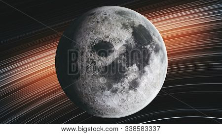 Moon Orbit Rotate Planet Close Up Spiral Galaxy. Celestial Object Map Side Lit Satellite View Galaxy Navigation Universe Exploration Concept 3D Animation