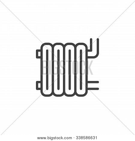 Heater Battery Line Icon. Linear Style Sign For Mobile Concept And Web Design. Central Heating Batte