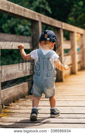 Little Child From Behind Walking On A Wooden Bridge In The Alps With A Blue Baseball Cap, Hiking Sho