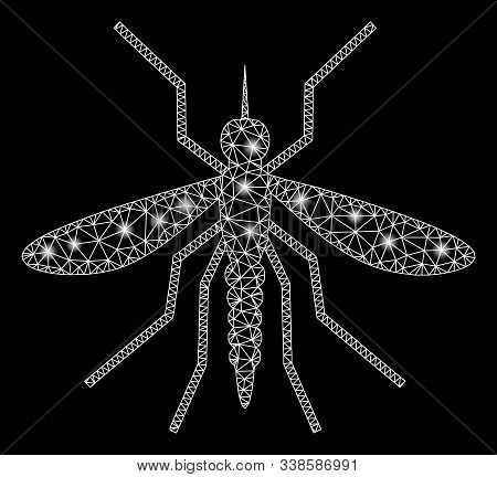Bright Mesh Mosquito With Glare Effect. Abstract Illuminated Model Of Mosquito Icon. Shiny Wire Fram