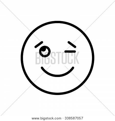 Black Line Icon For Wink Signals Expression Eyelid