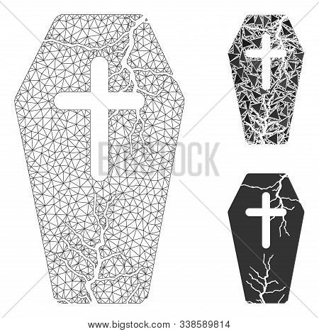 Mesh Old Coffin Model With Triangle Mosaic Icon. Wire Carcass Polygonal Mesh Of Old Coffin. Vector C