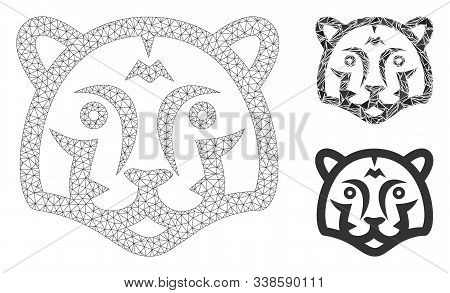 Mesh Tiger Head Model With Triangle Mosaic Icon. Wire Frame Polygonal Mesh Of Tiger Head. Vector Mos