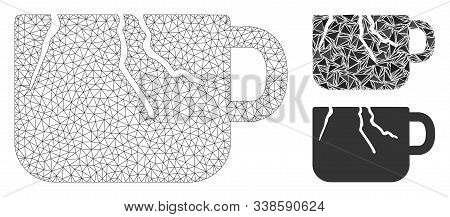 Mesh Damaged Cup Model With Triangle Mosaic Icon. Wire Carcass Polygonal Mesh Of Damaged Cup. Vector