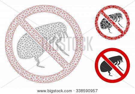 Mesh No Flea Model With Triangle Mosaic Icon. Wire Carcass Polygonal Mesh Of No Flea. Vector Mosaic