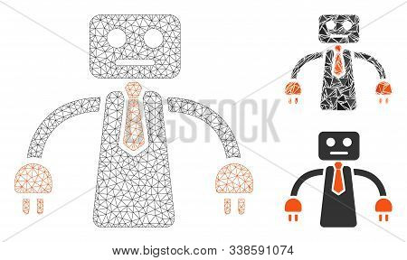 Mesh Boss Robot Model With Triangle Mosaic Icon. Wire Frame Triangular Mesh Of Boss Robot. Vector Co