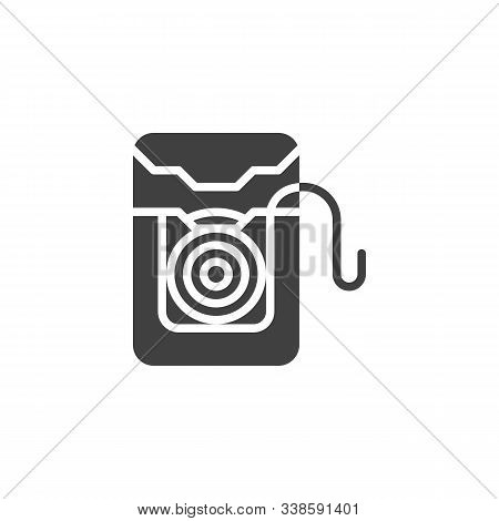 Dental Floss Box Vector Icon. Filled Flat Sign For Mobile Concept And Web Design. Plastic Container