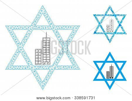 Mesh Jerusalem Star Model With Triangle Mosaic Icon. Wire Carcass Triangular Mesh Of Jerusalem Star.