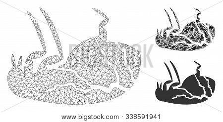 Mesh Sick Flea Model With Triangle Mosaic Icon. Wire Carcass Triangular Mesh Of Sick Flea. Vector Mo
