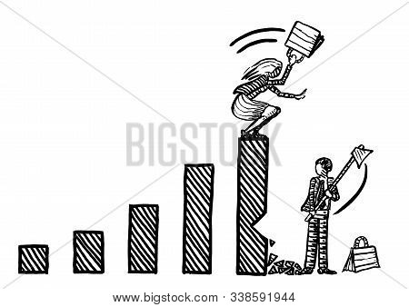 Freehand Drawing Of Business Man Cutting Down Growth Bar Of Female Rival, While Businesswoman Atop I