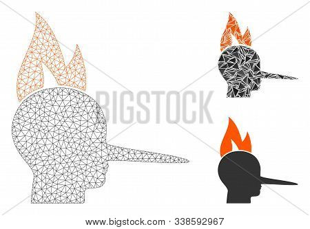 Mesh Fired Liar Model With Triangle Mosaic Icon. Wire Frame Polygonal Mesh Of Fired Liar. Vector Col