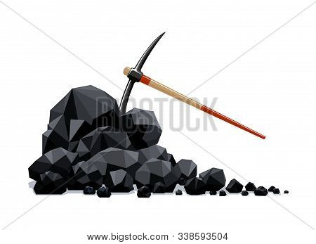 Coal Lumps And Pickaxe. Firewood Charcoal Fossil Mineral Fuels Pile, Graphite Material With Mining T
