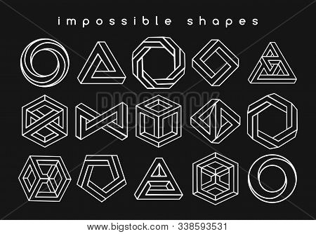 Geometric Shapes Optical Illusions. Illusion Geometrical Symbols, Impossible Creative Art Like Infin