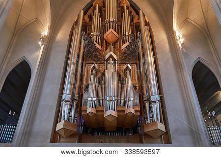 REYKJAVIK, ICELAND - MAY 05, 2018: Cathedral Hallgrimskirkja in Iceland, big church organ pipes
