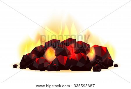 Glowing Coal Pile. Coals Fossil Fuels With Flame Vector Illustration, Burning Coal Combustion Isolat