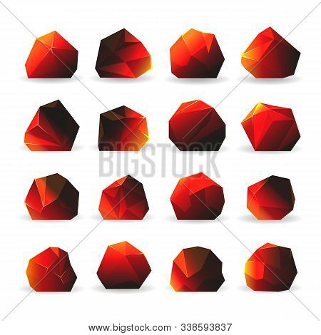 Burning Coal. Coals Hot Objects Vector Illustration, Burn Glowing Charcoal For Grill Or Bbq