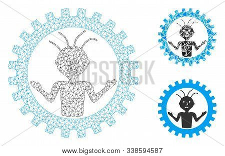 Mesh Mad Engineer Model With Triangle Mosaic Icon. Wire Frame Polygonal Mesh Of Mad Engineer. Vector