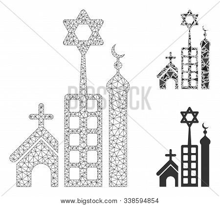Mesh Jerusalem City Model With Triangle Mosaic Icon. Wire Frame Polygonal Network Of Jerusalem City.
