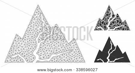 Mesh Damaged Rocks Model With Triangle Mosaic Icon. Wire Carcass Polygonal Mesh Of Damaged Rocks. Ve