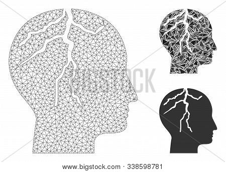 Mesh Brain Cancer Model With Triangle Mosaic Icon. Wire Carcass Triangular Mesh Of Brain Cancer. Vec