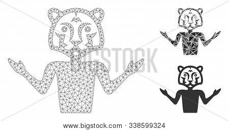 Mesh Masquerade Model With Triangle Mosaic Icon. Wire Carcass Polygonal Mesh Of Masquerade. Vector M