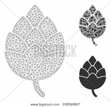 Mesh Hop Bud Model With Triangle Mosaic Icon. Wire Frame Polygonal Mesh Of Hop Bud. Vector Mosaic Of