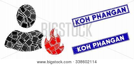 Mosaic Fire Pictogram And Rectangular Koh Phangan Seals. Flat Vector Fire Mosaic Icon Of Scattered R