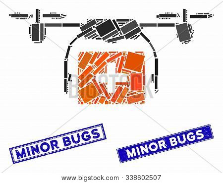 Mosaic Medical Drone Shipment Pictogram And Rectangle Minor Bugs Watermarks. Flat Vector Medical Dro