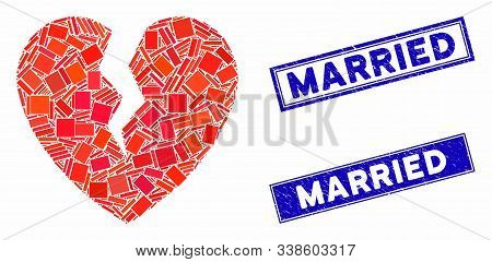 Mosaic Broken Heart Icon And Rectangular Married Stamps. Flat Vector Broken Heart Mosaic Icon Of Ran