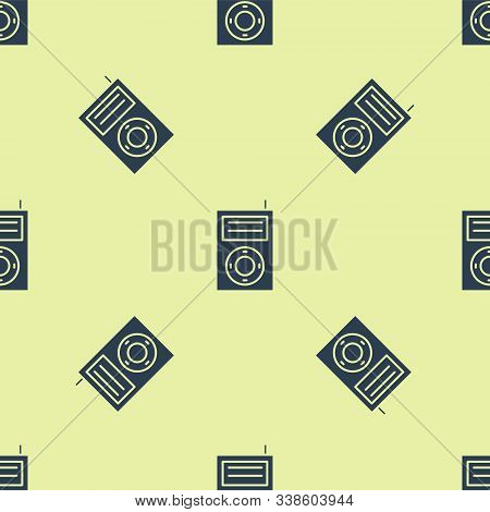 Blue Music Mp3 Player Icon Isolated Seamless Pattern On Yellow Background. Portable Music Device. Ve
