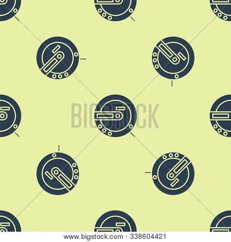 Blue Music Cd Player Icon Isolated Seamless Pattern On Yellow Background. Portable Music Device. Vec