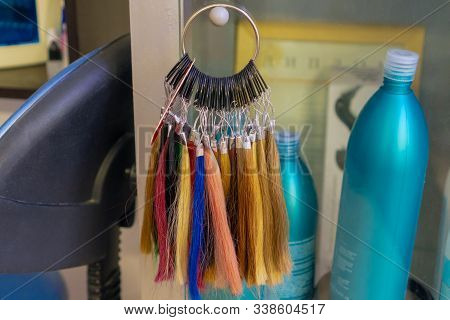 Hair Palette. A Variety Of Colors For Dyeing. Curls Samples At The Hairdresser.