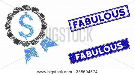 Mosaic Bank Award Icon And Rectangle Fabulous Seal Stamps. Flat Vector Bank Award Mosaic Icon Of Ran