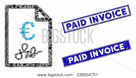 Mosaic Euro Invoice Icon And Rectangle Paid Invoice Rubber Prints. Flat Vector Euro Invoice Mosaic I