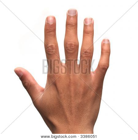 A hand holding up five fingers over a white background poster