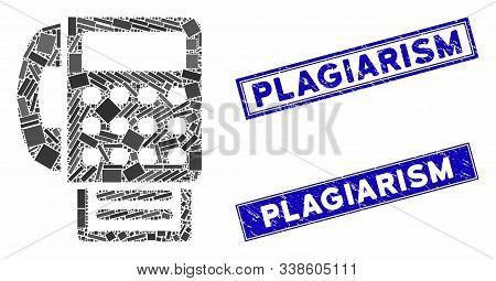 Mosaic Fax Machine Pictogram And Rectangular Plagiarism Rubber Prints. Flat Vector Fax Machine Mosai